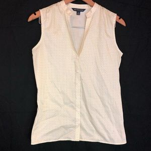 Brooks Brothers 4 green pink button front tank top